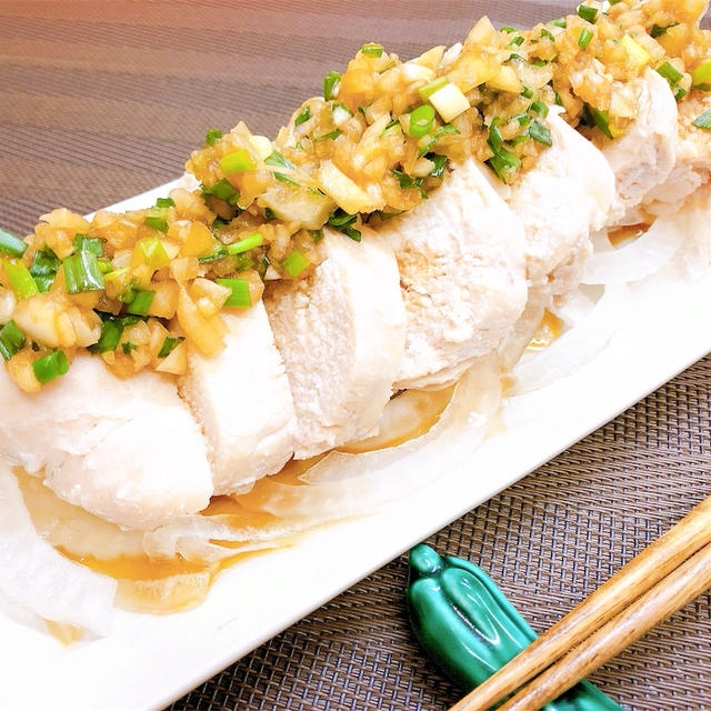 しっとり蒸し鶏の香味ダレ【#蒸し鶏 #香味ダレ #簡単 #レシピ #むね肉】