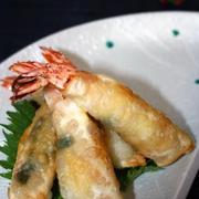 餃子の皮で簡単♪「パリパリ海老フライ*大葉チーズ味」