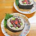 節分の恵方巻にお花の太巻き寿司