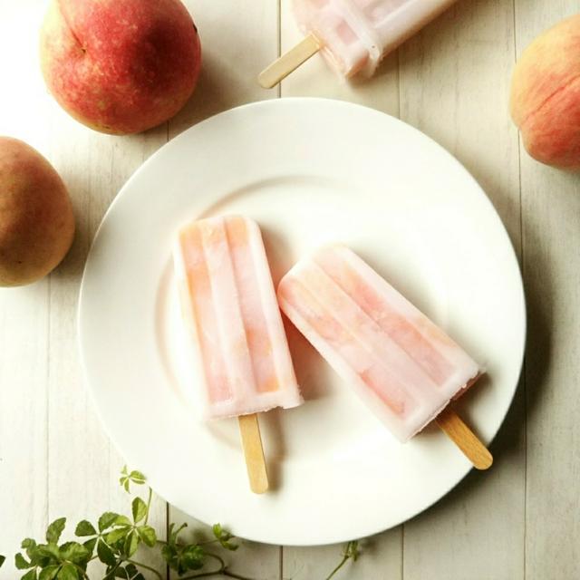 桃のコンポートで作る ごろっと白桃アイスキャンディー