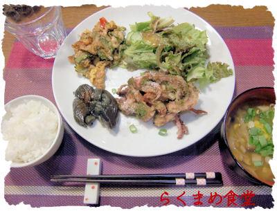 【イカゲソ焼き】と【ゴーヤチャンプル】♪と和菓子♪