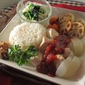 夕食ワンプレ♪炊飯器で鶏飯・チリトマトソース