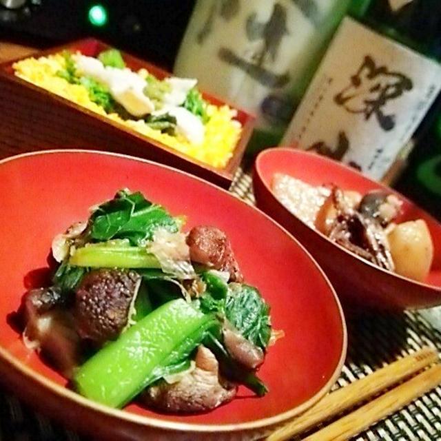 小松菜炙り椎茸湯葉和え、飯蛸と新じゃがの煮物、河豚蕗味噌焼き、河豚と菜の花のちらし寿司