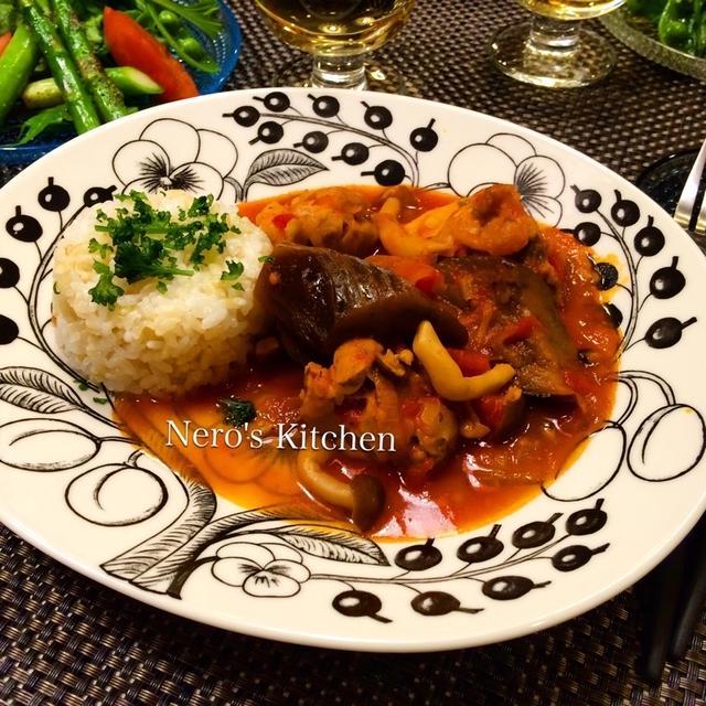 チキンと茄子のトマト煮込み玄米ごはん添え・春野菜サラダ♪