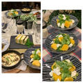 手作りシーザードレッシングで春菊と柿、クリームチーズのサラダ・・今朝の富士山綺麗です!! by pentaさん