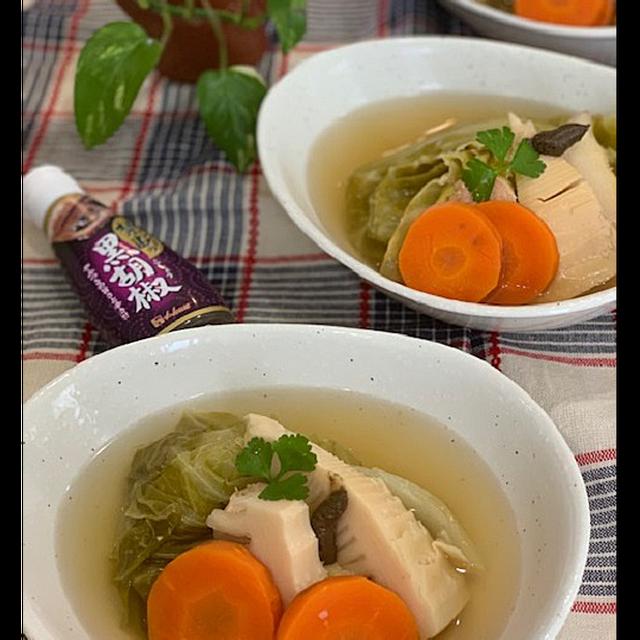 旬の素材、春キャベツ・堀りたて筍で和風ポトフ~抹茶マーブル角食焼きました!!