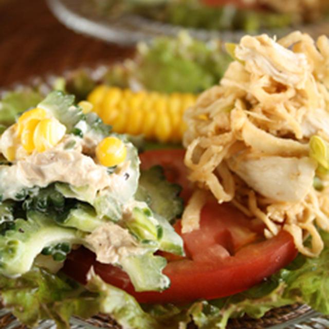 ゴーヤツナサラダと切り干し大根サラダ