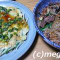 炊飯器チャプチェとチヂミの夕食