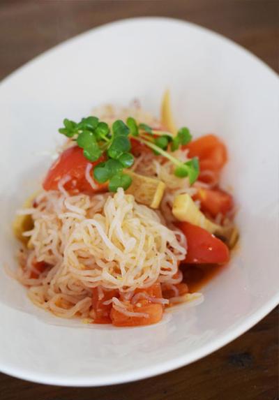 Diet*トマトとエリンギの白滝ペペロンチーノ/お化粧
