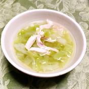 茹で鶏レモングラス風味を使ったお手軽スープ♪