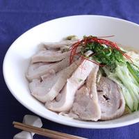 和風蒸し鶏の冷製スープパスタ/おだしでさっぱりと。