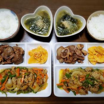 【家ごはん】 韓国料理の献立♪ [レシピ] たけのこナムル / ピーマンとひき肉のチャプチェ / わかめスープ