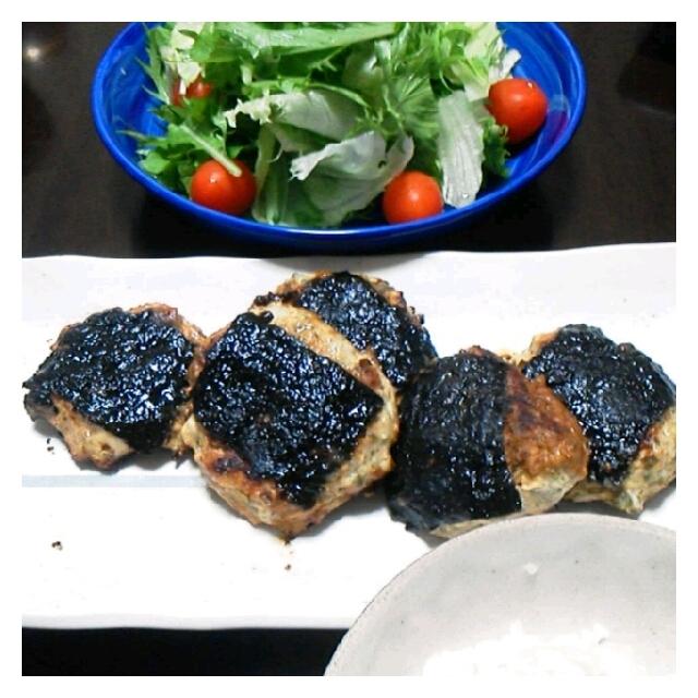 昨日の夕ご飯☆鶏つくねイソベ焼き