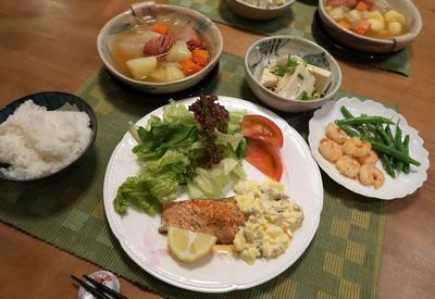 サーモンムニエル~タルタルソース添えの晩ご飯 と 満開のイソギクの花♪
