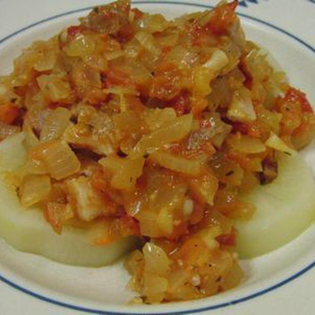 大根がごちそう♪ 洋風大根煮のトマトソースがけ