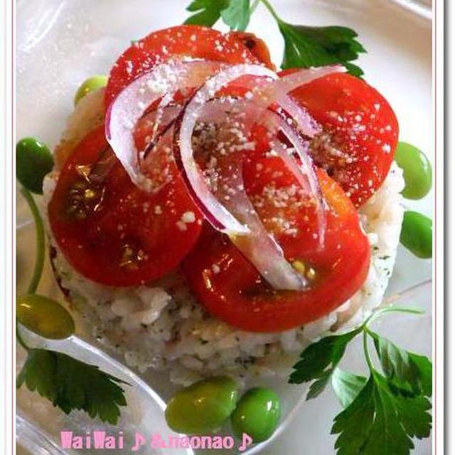 トマト&枝豆★夏野菜のライスサラダ♪ケーキ仕立て♪♪