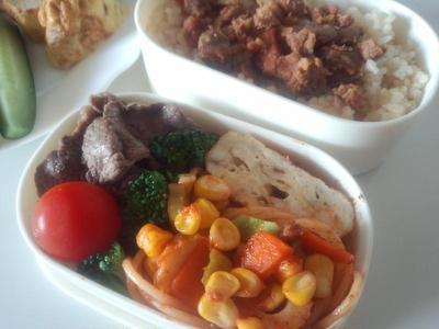 牛肉弁当と朝ご飯