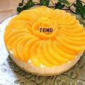 つくれぽ感謝♪「桃缶とマシュマロのレアチーズケーキ」