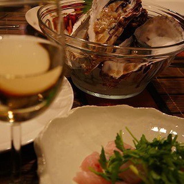 殻つき牡蠣・せりと真鯛の粗塩あえ・アボカドと海老のリコッタチーズ添え・・・