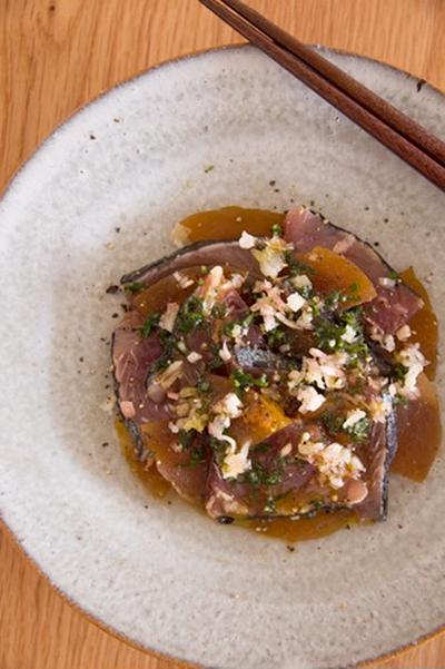 #600 カツオと奈良漬けのカルパッチョ