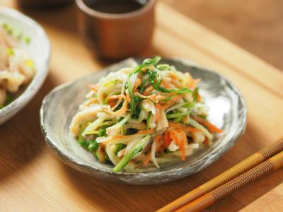 水菜と鶏皮の辛子酢味噌和え