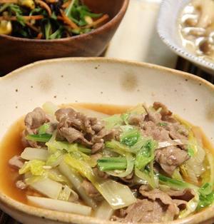 白菜と豚肉の中華風とろとろ炒め煮。晩ごはん。