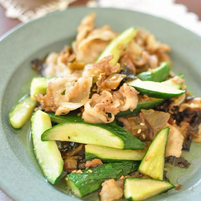 10分レシピ【豚ときゅうりの高菜炒め】と夏っぽい献立2日分