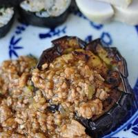 茄子のステーキ  挽肉の甘辛味噌あん*花椒風味