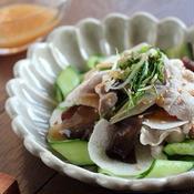豚しゃぶと長芋の梅だれサラダ