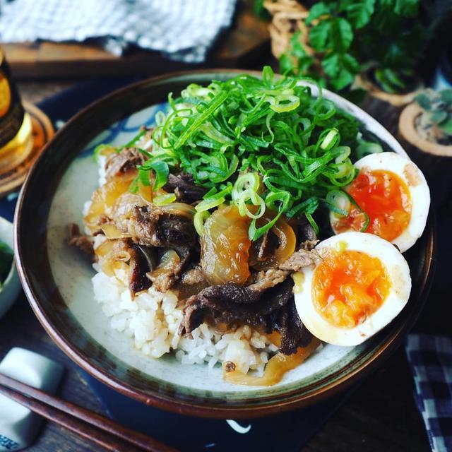お気に入りの牛肉レシピ色々~❤️と、さっぱり味卵乗せねぎだく牛丼♪