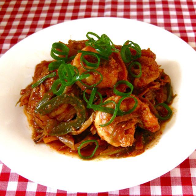韓国風エビの辛炒め。
