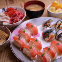 伯方の塩 de 炙りサーモンの握り寿司