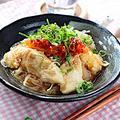 鶏胸肉と玉ねぎのレンチンしらたき冷麺風【具材レンジでj時短カンタン】|レシピ・作り方