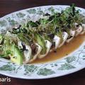 豆腐とアボガドとアルファルファと海苔のカプレーゼ、アンチョビ醤油ドレッシング