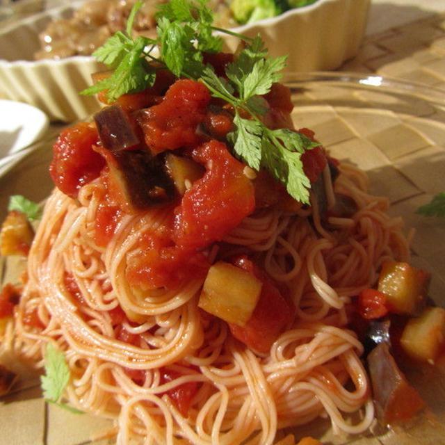 ☆レシピ: 素麺de茄子とトマトの冷製パスタ風☆