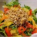 風邪予防にビタミンACEパワー「春菊と赤黄ピーマンのサラダ」♪