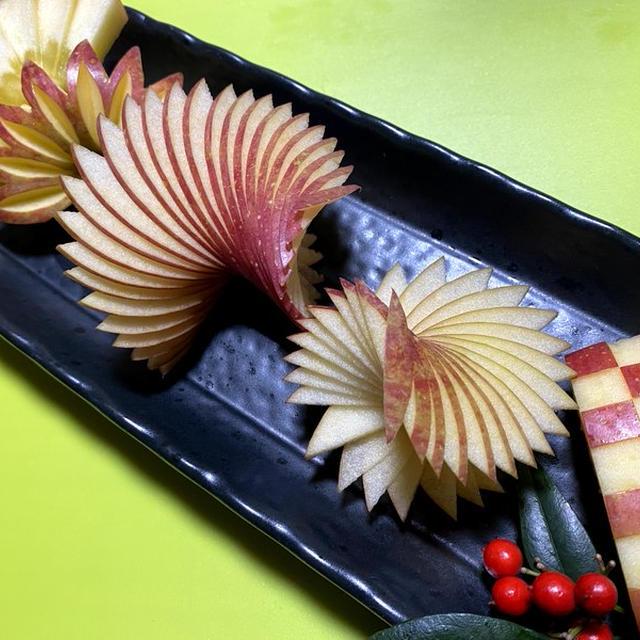 リンゴで正月飾り切り 扇、松 便利なフルーツカット How to cut an apple Japanese