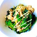 ケール×ブロッコリーの新しい野菜アレッタとエノキと豚バラスライスのウスターマヨ炒め♡