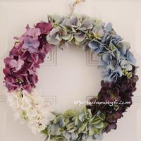力作✿夏のお花アレンジ「向日葵と野ばらのリース」「紫陽花のグラデーションリース」