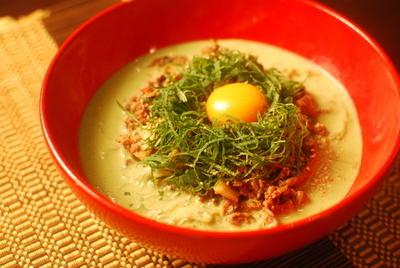 大葉と枝豆の牛肉冷麺