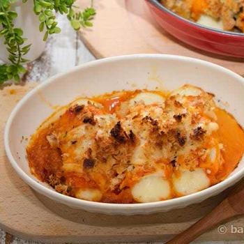 鶏ささみのとろ~りチーズロールオーロラソース焼き|簡単オーブン料理