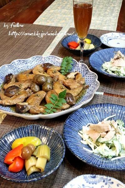 ◆手羽先の黒酢煮と自家製ツナとゴーヤのサラダ♪