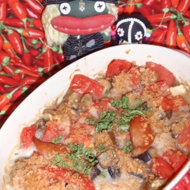 茄子とトマトのポタージュグラタン&甘酢漬け切り干し大根のツナサラダ(お家カフェ)