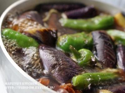 ほろ酔い薬膳:秋茄子とシシトウの焼き浸し。