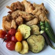 鶏と野菜の揚げ物&完熟ゴーヤーと胡瓜の酢の物