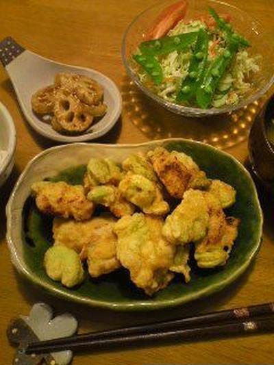 空豆と鶏肉のフリッター