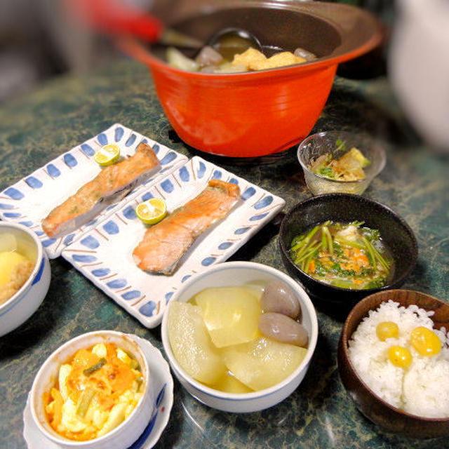 10月3日献立☆無加水鍋で冬瓜のおでん&秋鮭の柚子こしょう焼き&銀杏ご飯などなど和食で5品☆