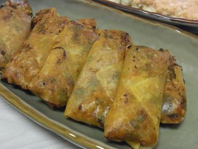 夏野菜のラタトゥイユ風ピリ辛春巻き・焼きなすのうめんたいマヨソース