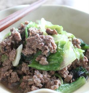 5分で簡単☆牛挽肉とレタスの炒め物