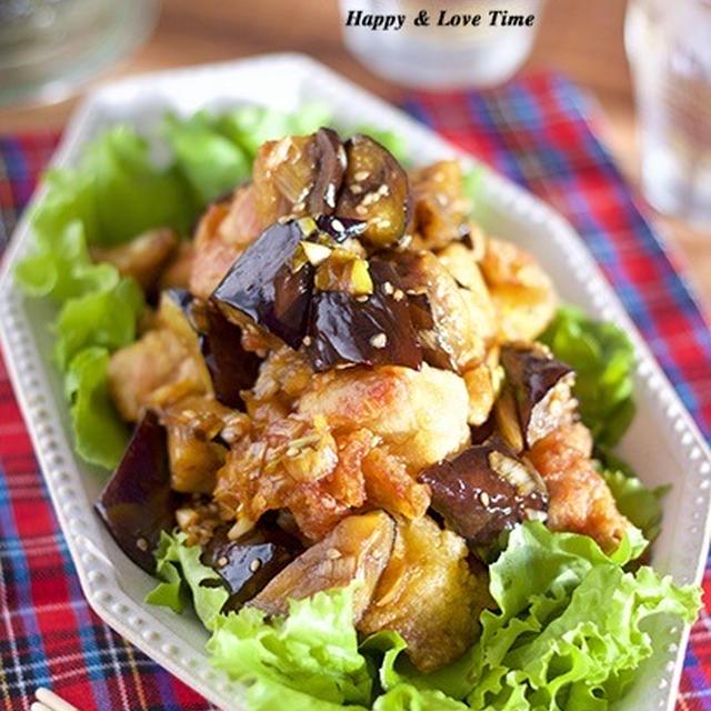 【レシピブログ連載】男子も喜ぶガッツリ系♡『揚げ鶏と秋ナスの甘酢ネギソース』